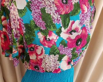 Vintage, 1980's, Diane Freis, Silk, Chiffon, Floral, Print, Beaded, Dress