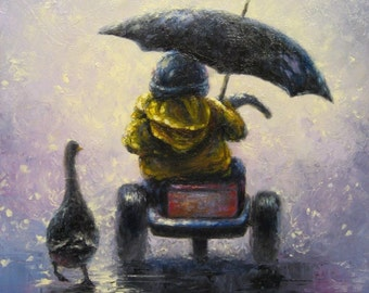 Little Boy Art Print little boy in rain kids wall art, three wheeler, trike, bike, boy art, duck, rain, childrens wall art, Vickie Wade Art