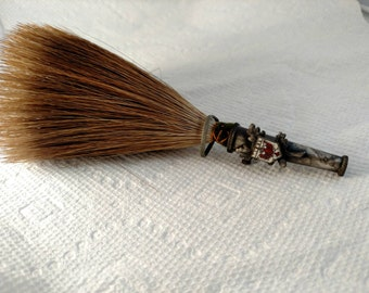 Men's Horse Hair Hat or Helmet Pin, Red Eagle on an Oak Leaf, Prussian