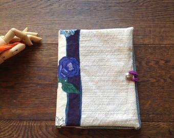 Eco friendly, reusable fabric notebook cover, travel journal, gardening journal, dream journal, school notebook