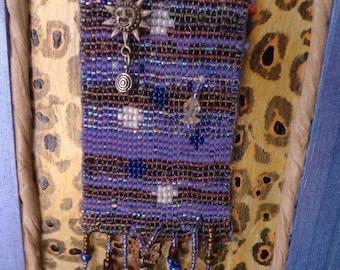 new lower price   IndigoMoon of beads  dangling beadwork BeadLoom Team red