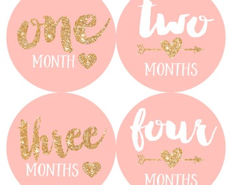 Baby Month Stickers Baby Girl Monthly Milestone Stickers Photo Prop Baby Shower Gift First Year Belly Stickers 12 Months Gold Glitter Hearts