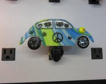 Volkswagon Beetle - VW Bug Night Light - Volkswagon Bug Fused Glass Nightlight - Colorful Glass Night Light
