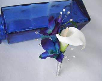 Jasper's Groom's Bout Rhinestone Sprays Blue Violet CA Orchids White Calla Lily Men's Wedding Flowers Silk Boutonniere