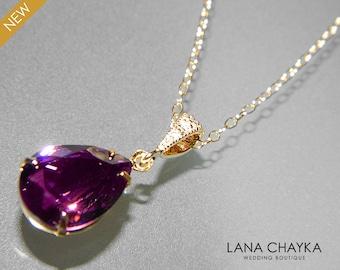 Amethyst Crystal Necklace Swarovski Purple Rhinestone Amethyst Gold Wedding Necklace Purple Necklace Amethyst Teardrop Necklace