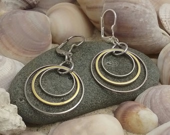 Gold Earring, Mixed Metal Earring , Hoop Earrings, Everyday Earrings, Dangle  Earring, Classic Earring, Gold plated Earring, Gold and Silver