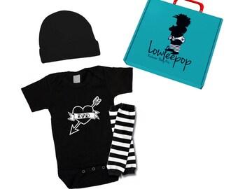 ROCKSTAR BABY KIT Dad Tattoo Heart onesie, hat, leg Warmers & optional gift box