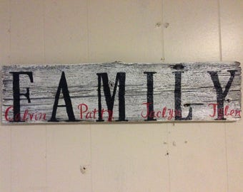 Custom Family Sign - Rustic Barn Wood Sign, custom wood sign, family name sign, wood decor, barn wood decor, gift