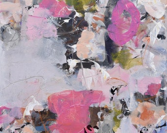 Abstract Painting Expressionism painting geometric painting color block pink gray black chartreuse A Spring Song 2   20x20 or 20x40