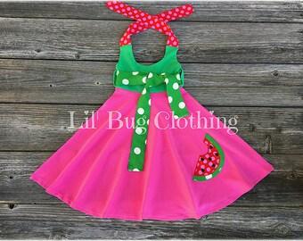 Watermelon Dress, Girls Hot Pink Green Comfy Knit Watermelon Dress, Custom Boutiqiue Watermelon Dress