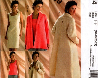 Uncut Misses' Lined JACKET COAT DRESS Top Pants Pattern McCall's #5064 Size 16-18-20-22 Classic Fit Ladies' Spring Easter Wardrobe Sewing