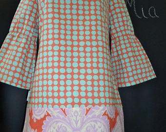 Boatneck DRESS or TOP - Amy Butler - Made in ANY Size - Boutique Mia