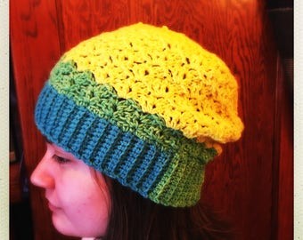 Crocheted Multi Color Slouchy Hat