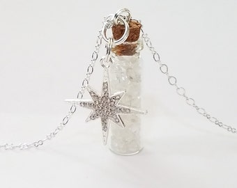 Crystal Bottle Vial Necklace: Quartz Crystal with Rhinestone Star Charm*
