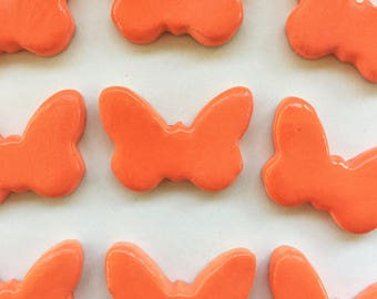 10 Handcrafted Bright Orange Butterfly Tiles That Can Be Used In Mosaic And Other Mixed Media Projects