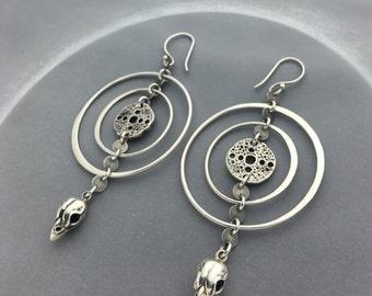 Bird Skull Crop Circle Silver Hoop Earrings