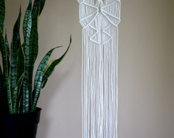 Macrame Wall Hanging - Natural White Cotton Rope on Wooden Dowel - Boho Nursery, Home Decor - MADE TO ORDER