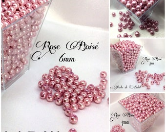 Pearls ROSE wood glass 4mm, 6mm, 8mm and 10mm