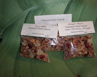 Granola Sampler 3 Pack, 2 ounce bags of  Different  Types.  The Very Best