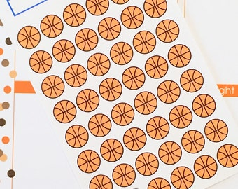 48 Basketball Planner Stickers- Basketball Game or Practice Stickers- perfect in your Erin Condren planner, wall calendar or scrapbook