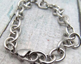 Stainless Steel Bracelet Chain - Finished Bracelet 10x8mm chain - Stainless Steel Chain - Large Bracelet Stainless Steel Bracelet (063)