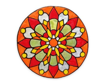 Mandala - Stained Glass - Handmade window sticker -  decor & housewares  -  window decoration - Suncatcher -  glueless cling