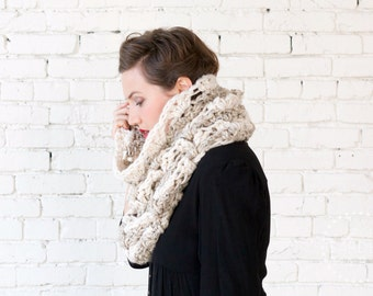 THE SNOWDROP COWL | 22 Color Choices | Chunky Knit Textured Zigzag Chevron Two-Tone Cowl Scarf Neckwarmer