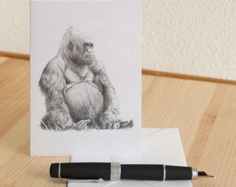 Gorilla Drawing Blank Notecard - Nina