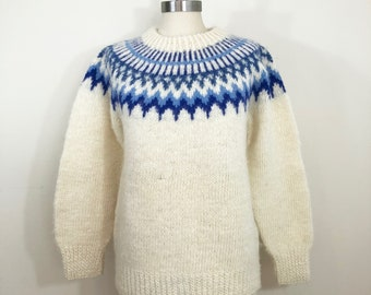 80s Hand Knit Fair Aisle Cream and Blue Fluffy Wool Knit Sweater, Size Medium to Large