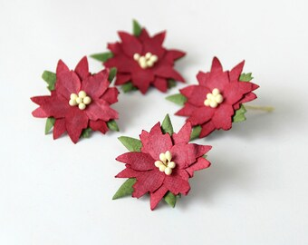 50 pcs - Burgundy medium poinsettia flowers / handmade muberry paper flowers / wholesale pack