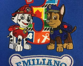 Paw Patrol birthday shirt, chase and marshal