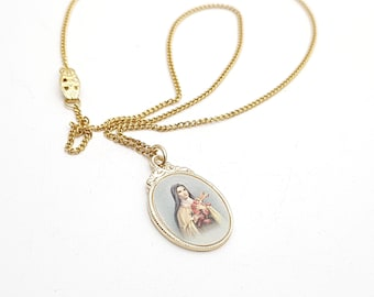 Vintage Gold Tone Necklace w/ Virgin Mary Metal Pendant Antique First communion Prayer Confirmation Wedding