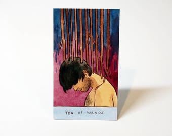 Ten of Wands - Original Watercolor Painting - Tarot Card