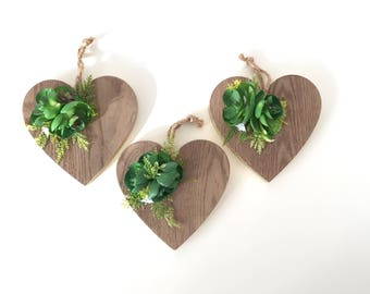 Wood Heart Ornaments With faux Succulent Details, Set of Three Heart with fake succulent Ornaments
