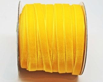 Velvet Woven Ribbon Trim -- 3/8 inches -- Golden Yellow