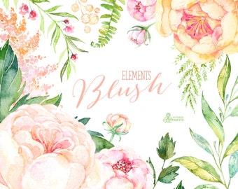 Blush. 33 Watercolor Floral Elements, peach, cream, pink, bridal, flowers clipart, peony, wedding invitation, greeting, sign, spring, shower