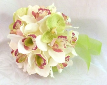 Creme and green orchid kissing ball orchid pomander wedding flower ball
