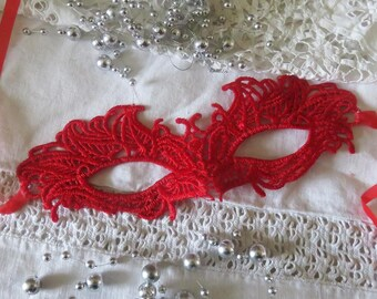 Venetian mask, red lace