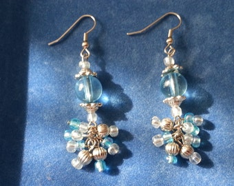 Sparkling Blue Chandelier Earrings