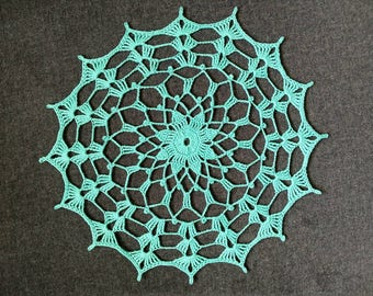 "New Handmade Crocheted ""Evening Time"" Doily in Aqua 9.5"""
