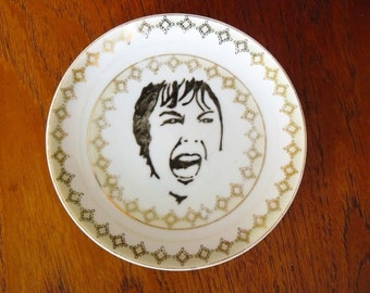 Screaming Janet hand painted vintage plate with hanger recycled Hitchcock Psycho tribute.