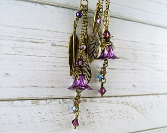 Purple Lucite Flower Earrings, Leaf and Feather Charm Earrings, Brass Earrings, Boho Earrings