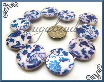 10 Mother of Pearl Coin Beads, Shell Beads White and Blue Flowers 20mm, Shell Beads, Coin Beads