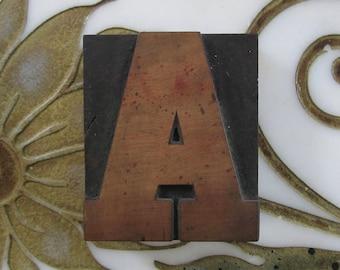 Letter A Antique Letterpress Wood Type Printers Block