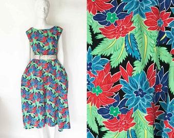 The Hawaii 5-0 Vintage 80s Tank Dress Pockets Oversize Mu Mu Caftan Maxi Dress Long Floral Print Tank Top