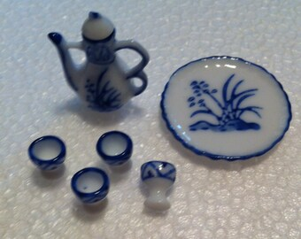 Teaset, Porcelain DollhouseTeaset, Miniature Teaset, Tiny Blue and White Teaset