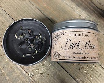 DARK MOON Meditation Candle //Tin Candle // Spell Candle // Ritual Candle // Calming // Peace // Relaxation // Witchcraft // Magick