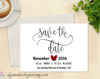 Save the Date Template, DIY Save the Date Card, Save the Date Printable, Wedding Printable, Rustic Wedding, Editable PDF Instant Download,
