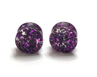 "14mm (9/16"") Pink and Purple Glitter Plugs - Gauges - Stretched Ears - Double Flare Plugs"