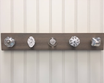 Jewlery organizer, hanging jewlery holder for wall, jewelry display, necklace holder with knobs